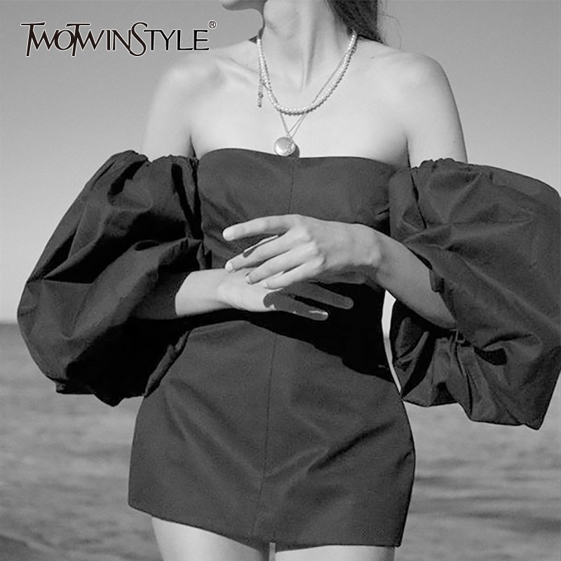 TWOTWINSTYLE Sexy Solid Women Dress Off Shoulder Lantern Sleeve High Waist Slim Mini Dresses Female Fashion