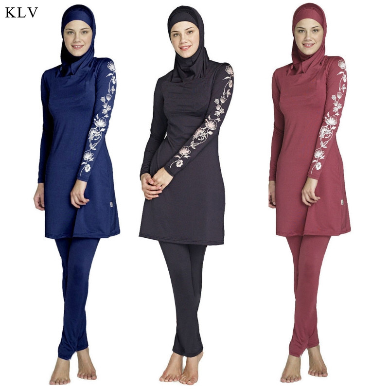 564923d135 KLV Muslim Swimsuit Women Long Sleeve Muslim lslamic High Quality Full  Cover Costumes Swimwear Set With Flower Printed