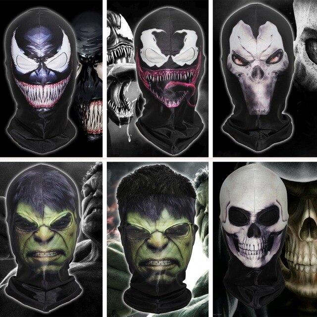 4a65490d120 Marvel 3D Ghost Rider Flame Skeleton Balaclava Skull Venom Spider-Man Hulk  Superhero Masks Darksiders Halloween Full Face Mask
