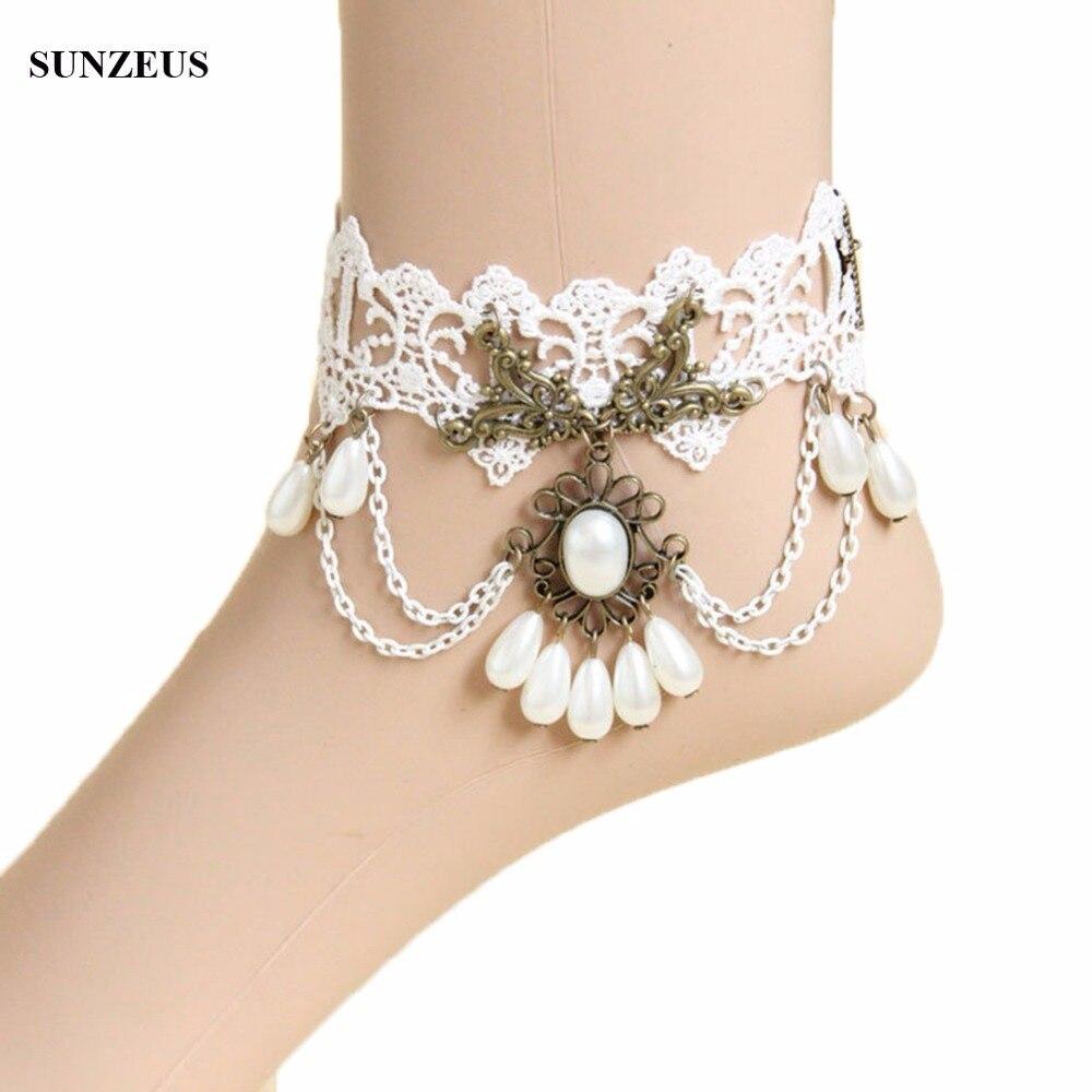 100% QualitäT Elfenbein Braut Spitze Fußkettchen Hochzeit Handschuhe Perlen Fuß Armbänder Frauen-knöchel-zubehör Freies Verschiffen Fi029 Um Jeden Preis