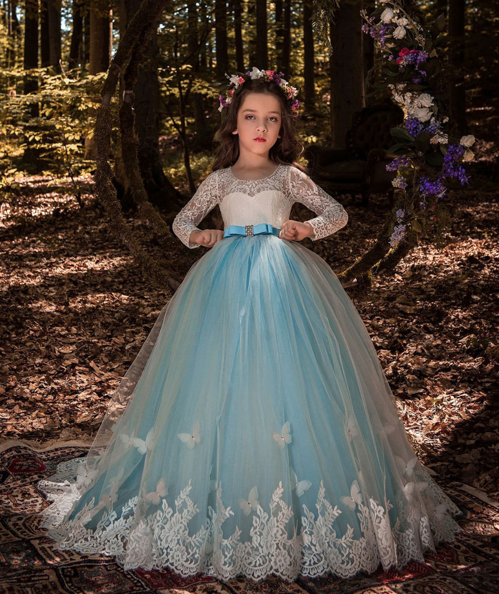 все цены на Ball Gowns Lace Flower Girl Dress with Butterfly Decoration Keyhole Back Blue Tulle Long Sleeves Kids Party with Satin Sash Bow