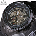 Luxury Brand Automatic Mechanical Watch For Male Skeleton Lettering Dial Military Sports Watches Black Stainless Steel Strap