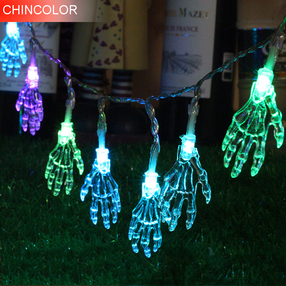 1.2m 10leds Holiday lights Skeleton hand Led Light string Battery Operated Perfect for Halloween Terror atmosphere decoration F 2 5m 10leds ghost led string lights halloween decoration