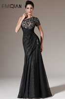 Freeshipping One Shoulder Black Lace Evening Dresses Evening Gowns
