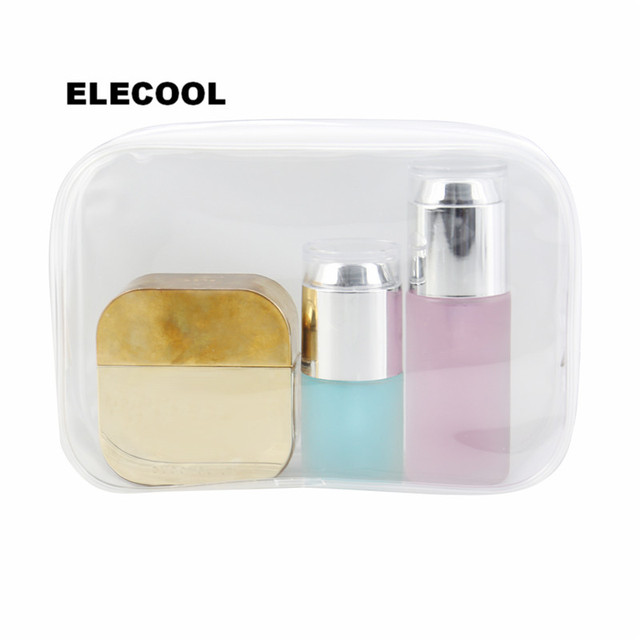 ELECOOL Waterproof PVC Clear Travel Cosmetic Bag Organizer Holder Pouch Portable Make Up Wash Bag Cosmetic Makeup Tools