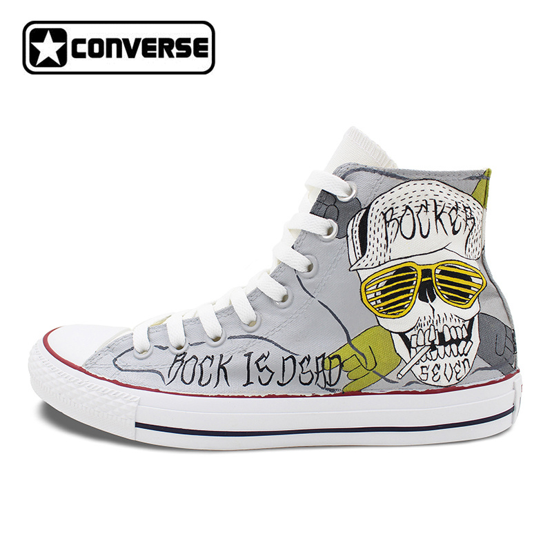 Converse Chuck Taylor Man Woman Sneakers Skull Rock Original Design Hand Painted High Top Skateboarding Shoes Christmas Gifts wen original design colorful lamp bulb hand painted shoes black slip on canvas sneakers for man woman s gifts presents