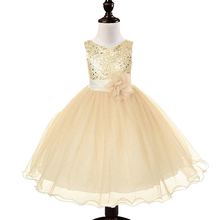 2015 New Flower Girls Dress Tutu Princess Gold White Girl Shining Dress Baby Casual Paty Dress for 2-6 Years Kid Dress