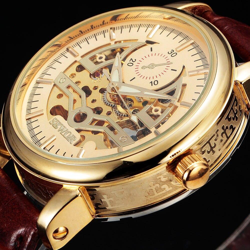 ae96a019970 SEWOR Esqueleto Relógio de Ouro Marca de Luxo Homens de Negócios Mecânico  Automático relógio de Pulso