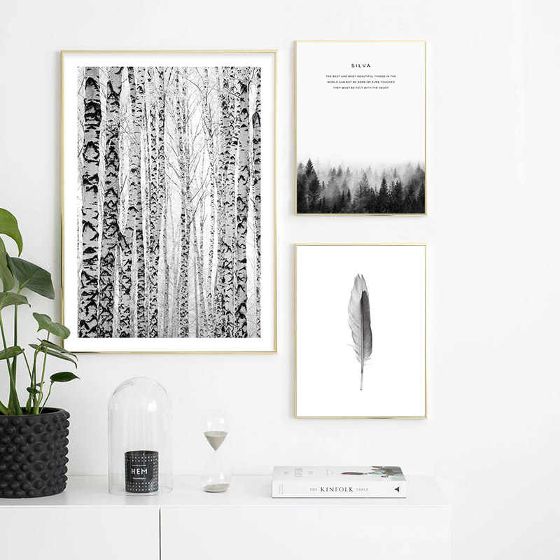 טבע חורף יער נורדי פוסטר שחור לבן נוף בד אמנות דקורטיבי הדפסת קיר ציור סקנדינבי קישוט תמונה