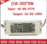 1pcs High Power 40W 50W 60W LED Driver 18 30 X3W 600mA DC54 105V LED Power