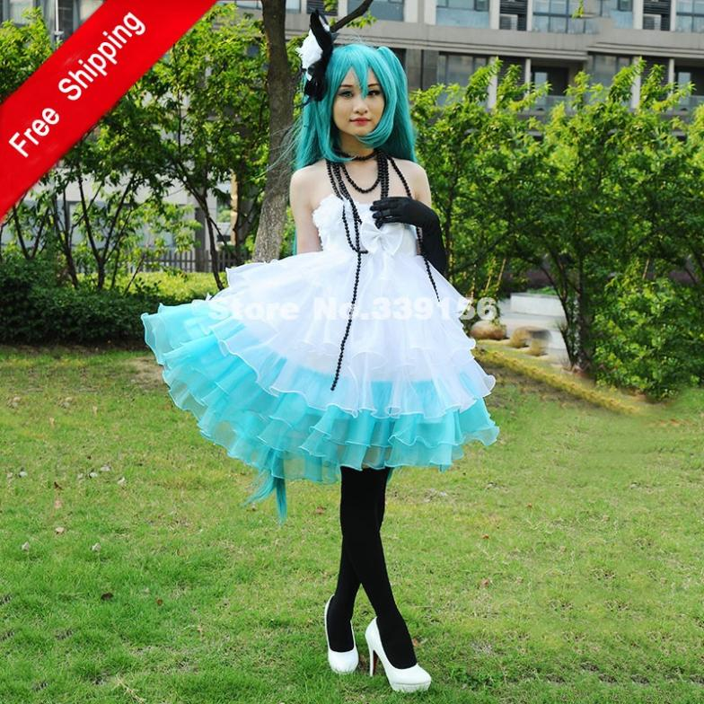 Hot Sale White And Green Strapless VocaloId Miku Cosplay Women's Dress Camellia Ladies' Dress For Party