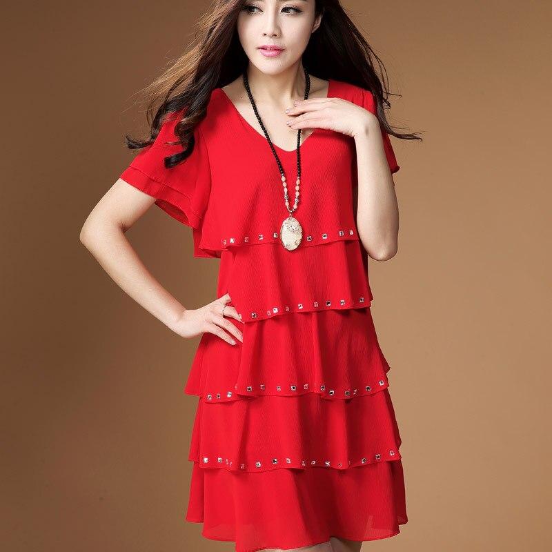 7dff9f06f62ab 6 ألوان freeshipping L-4XLwomens فساتين الصيف 2015 الصيف نمط جديد أزياء  زائد الحجم المرأة الشيفون اللباس الأحمر الأسود الأبيض الأزرق