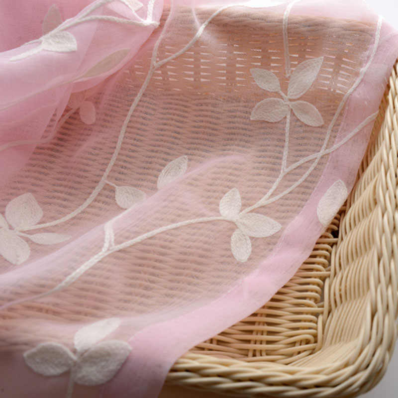 Modern Pink Sheer Curtain Tulle for Living Room Blue Window Drape White Tulle Windows Leaf Embroidery Sheers Custom Size WP007-4