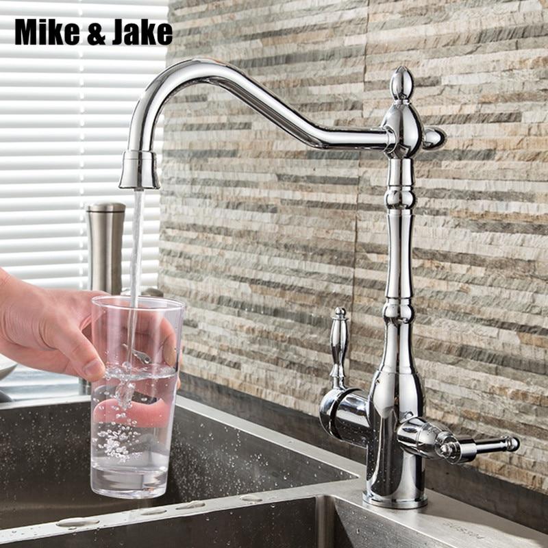 2017 robinet de cuisine carré avec double fonctions Torneira Cozinha robinets 3 In1 robinet de cuisine robinet à trois voies pour filtre à eau