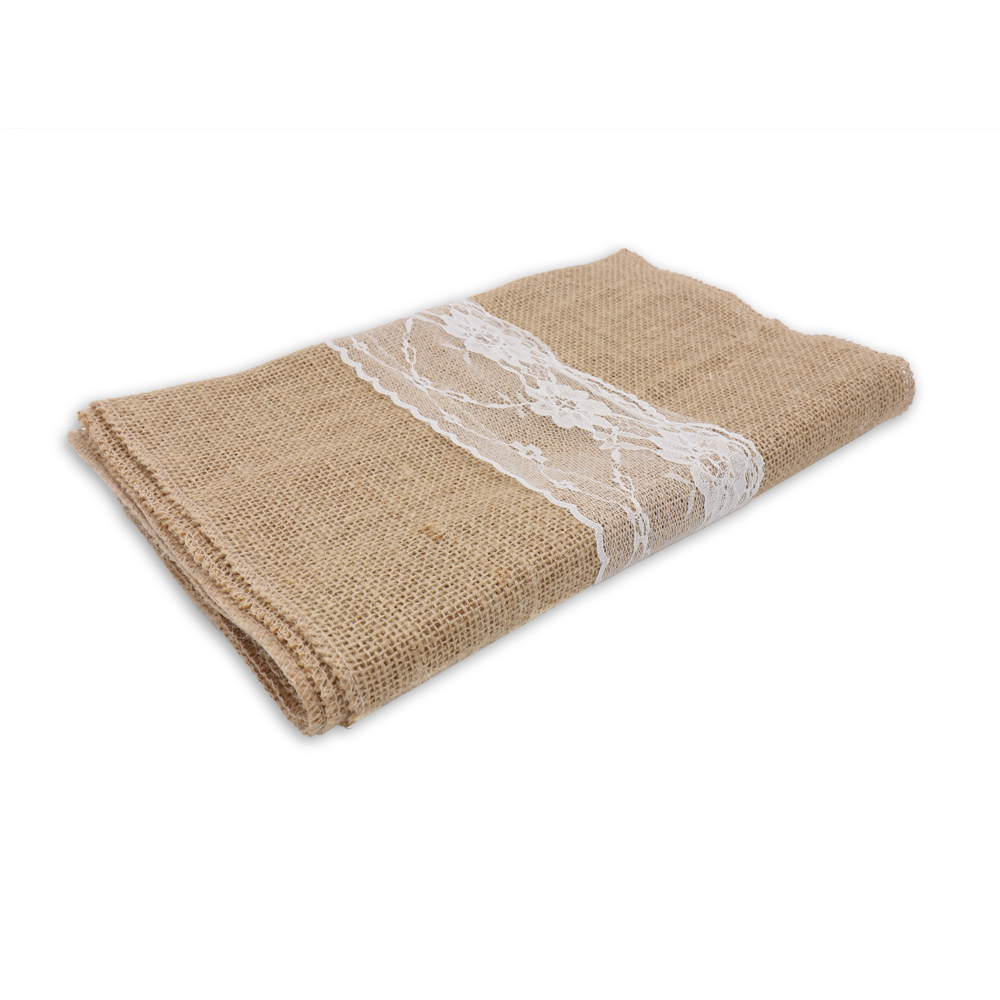 10Pcs Hot Sale Table Runners 30x275cm Burlap Hessian Lace Runner Vintage Natural Jute Rustic Country For