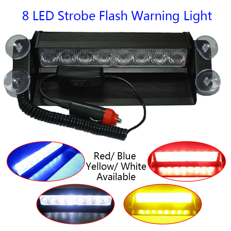 8 Led Flash Boat Truck Car Flashing Warning Light Emergency Windshield Police Strobe Light Lamp Blue Red White Amber Yellow strobe light flash emergency light windshield light s2 led emgergency strobe police flash light