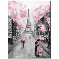5D Diy diamond painting Pink Umbrella Rainy Day Landscape wedding decoration embroidery mosaic Romatic Couple Paris TowerZP-2165