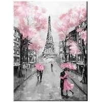 5D Diy diamond painting Pink Umbrella Rainy Day Landscape wedding decoration embroidery mosaic Romatic Couple Paris TowerZP-2165