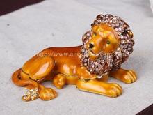 Roaring Lion Bejeweled Pewter Lion Novelty Trinket Box Jewelry Box Nobility Lion Beautiful Bejeweled Retired Enamel Figurine