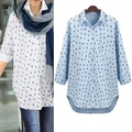 2017 Plus Size XL-5XL Womens Blouse Large Pattern Long Cardigan Full Sleeve Fashion White Blue Loose Tops Casual Lady Clothing