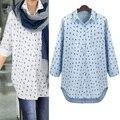 2017 más el tamaño xl-5xl blusa para mujer grande patrón largo rebeca de la manga completa de moda azul blanco loose tops señora casual clothing