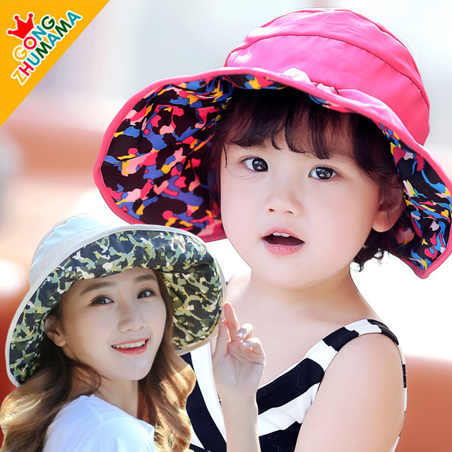 Kids Girls Mommy Sunshade Caps Children Fishman Bucket Cap Double-sided  Camouflage Big Brim Hat Anti UV Hat 2-9 Years and Adult ec0d302c3bf8