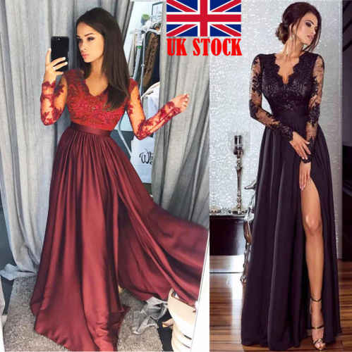 2018 New Women Lace Dress Evening Party Long Sleeve V Neck Ball Prom Gown Formal Wedding Lady Fashion Sundress Long Maxi Dress