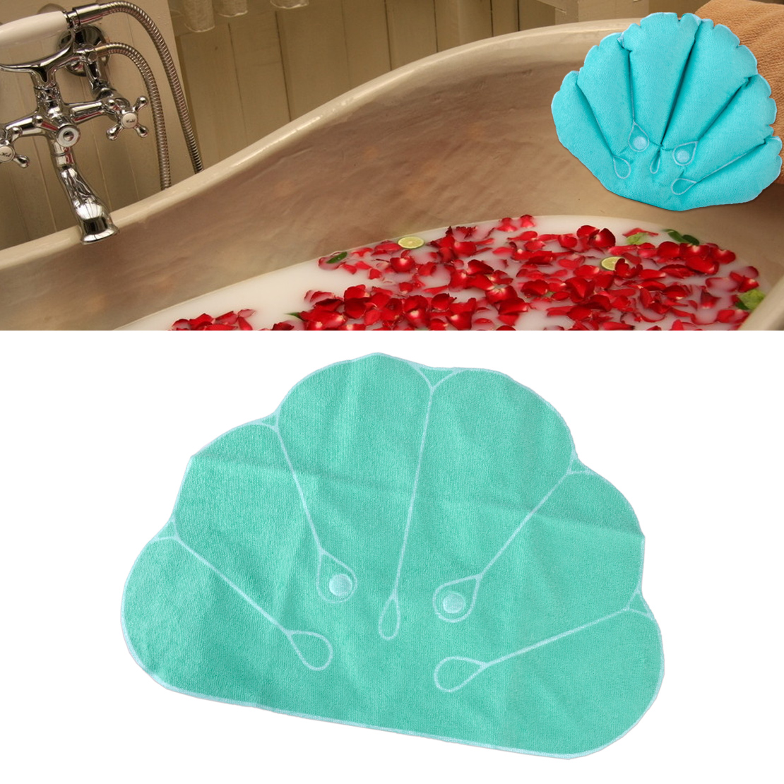 PVC u0026 Terrycloth Shell Shape Inflatable Bath Pillow Terrycloth Suction Cup  Back Neck Cushion Home Spa