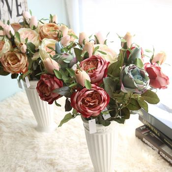 Lovely 30pcs Valentine's Rose Spring Artificial Fake Flower Arrangement Bouquet Room Wedding home Decor Real Touch Flower