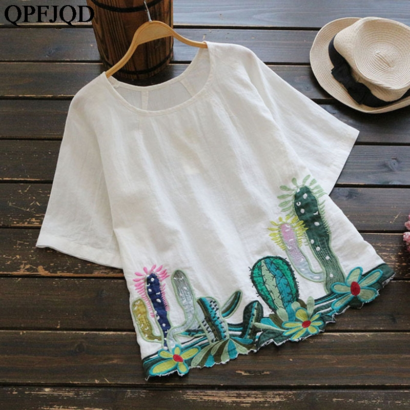 Cotton Linen Blouse And Shirt Short Sleeve Women Girls Cute Embroidery Cactus Loose White Pink Clothes Tee Shirt Femme O Neck