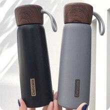 Краткое теплоизоляция бутылки для воды 500 мл с веревкой зерна крышкой дизайн 304 нержавеющая сталь средства ухода за кожей применимо