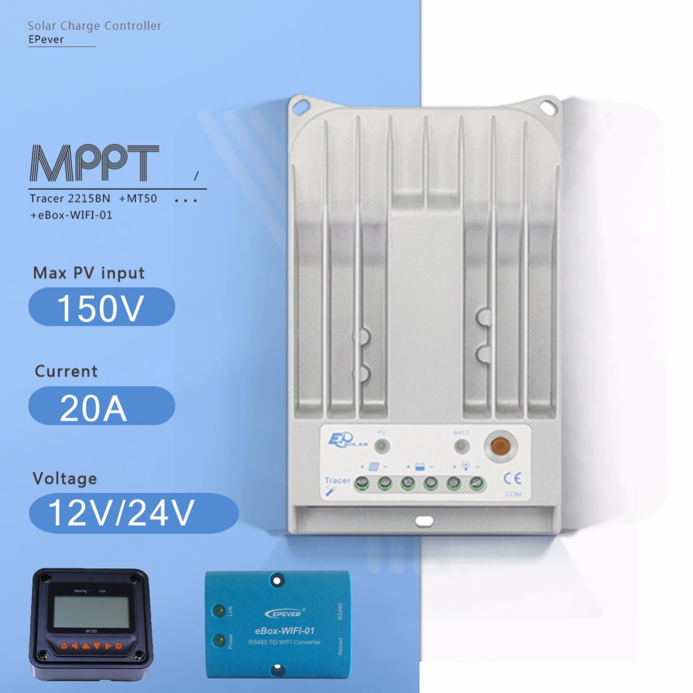 Tracer 2215BN 20A MPPT Solar Charge Controller 12V/24V Auto Solar Panel Battery Charge Regulator with EBOX-WIFI and MT50 Meter tracer 4215b 40a mppt solar panel battery charge controller 12v 24v auto work solar charge regulator with mppt remote meter mt50