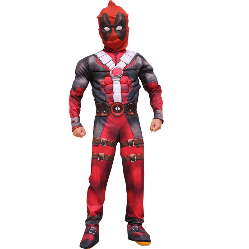 Halloween Deadpool Cosplay Costume Vestito Da Partito con maschera tutina rosso Carnevale Svengers Muscolare Abbigliamento Per I Bambini