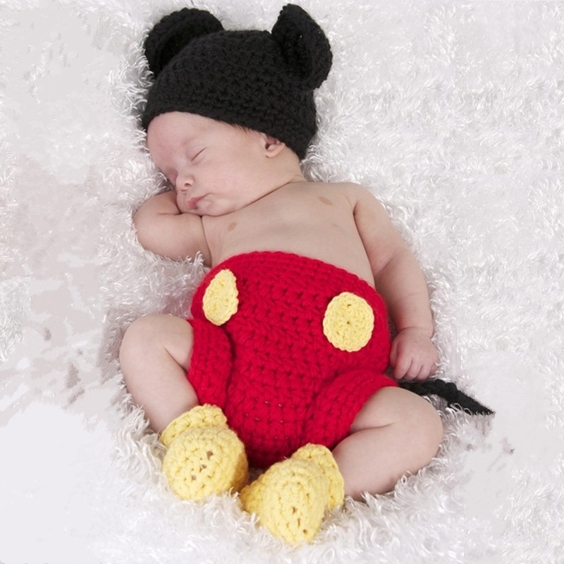 Retail Newborn Photography Props Baby Clothes By Hand Crochet Baby Clothing Group Three-piece Suit