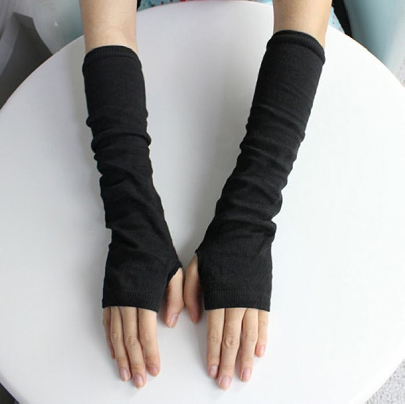 1 Pair Stretchy Wrist Arm Hand Warmer Knitted Mittens ...