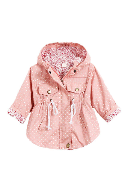 9a461c354 HOT SALE Children's Girls Jacket Clothing Thick Polka Dot Printed Baby Outerwear  Girl Trench Coat Pink XXL