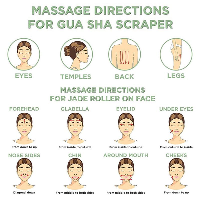 Natural Double Head Facial Massage Roller jade Beauty Tool  5