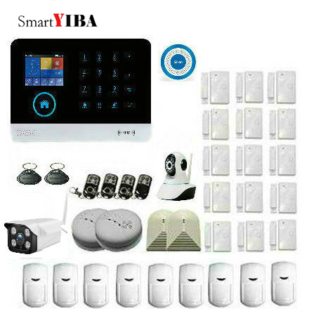 SmartYIBA WIFI Alarm System Home Security Alarm System IOS Android APP Control GSM WIFI Alarm System Wireless Home Burglar Alarm bonlor wireless wifi gsm alarm system android ios app control home security alarm system with pir motion sensor ip camera smoke