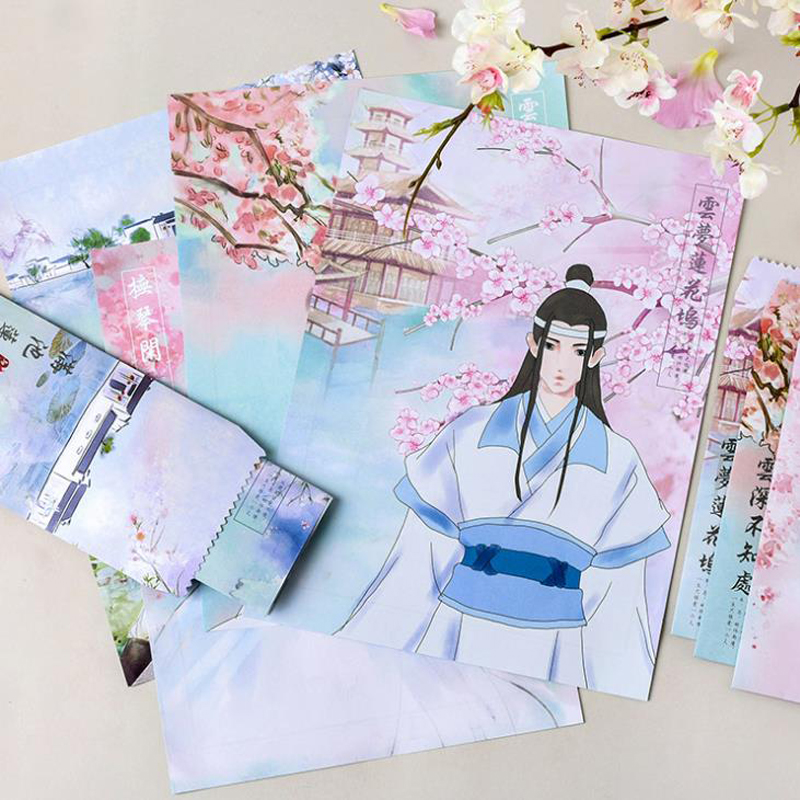 9 Pcs/pack Kawaii 3 Envelopes+6 Sheets Letters Chinese Ancient Beauty Men Flowers Paper Envelope Letters Set Stationery Gifts