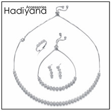 HADIYANA Fashion Cubic Zirconia Choker Necklace 4pcs Jewellery Sets For Women Wedding Party Gift Bridal Jewelry Acessories CN451(China)