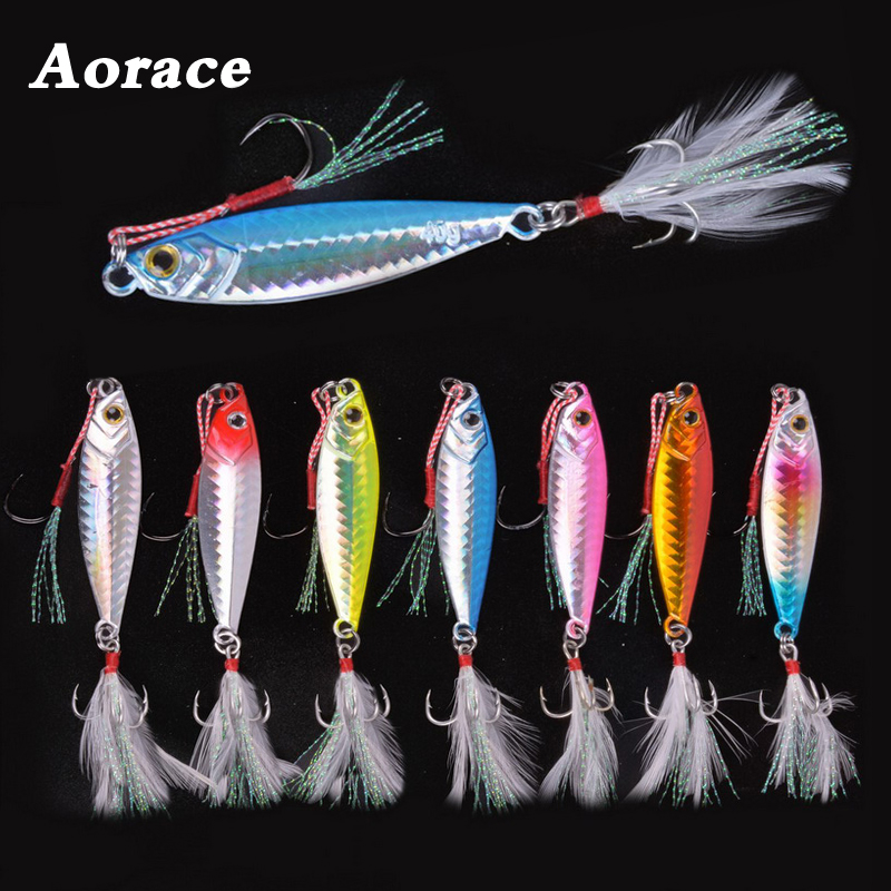 1PC Metal Cast <font><b>Jig</b></font> Spoon 30G 40G <font><b>60G</b></font> Jigging <font><b>Lead</b></font> Fish Sea Bass Fishing Lure Artificial Bait Tackle with Feather Treble Hooks image