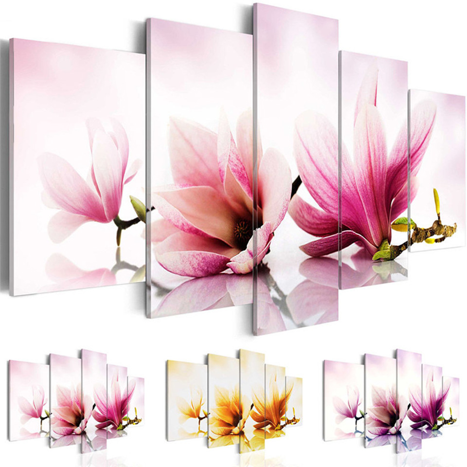 Vintage Poster Hd Wall Modular Art Prints Beautiful Magnolia Flowers