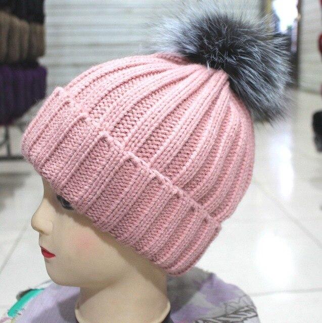 2017 новый горячий весна осень зима вязаная шапка silver fox мяч freeshipping
