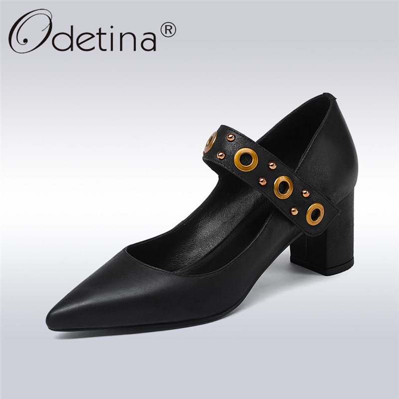 Odetina 2018 New Fashion Women Genuine Leather Pumps Hook&loop Slip On Pointed Toe Shoes Female Square High Heels Pumps Shoes nayiduyun women genuine leather wedge high heel pumps platform creepers round toe slip on casual shoes boots wedge sneakers