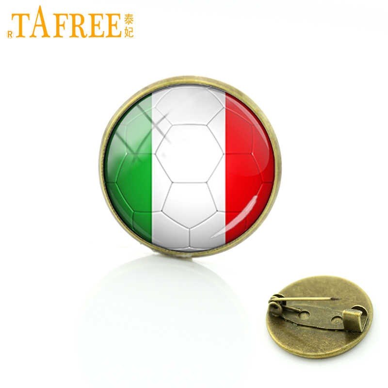 TAFREE Unique design Summer Italy Football picture glass art brooches soccer game pins badge for men women clothes jewelry D707