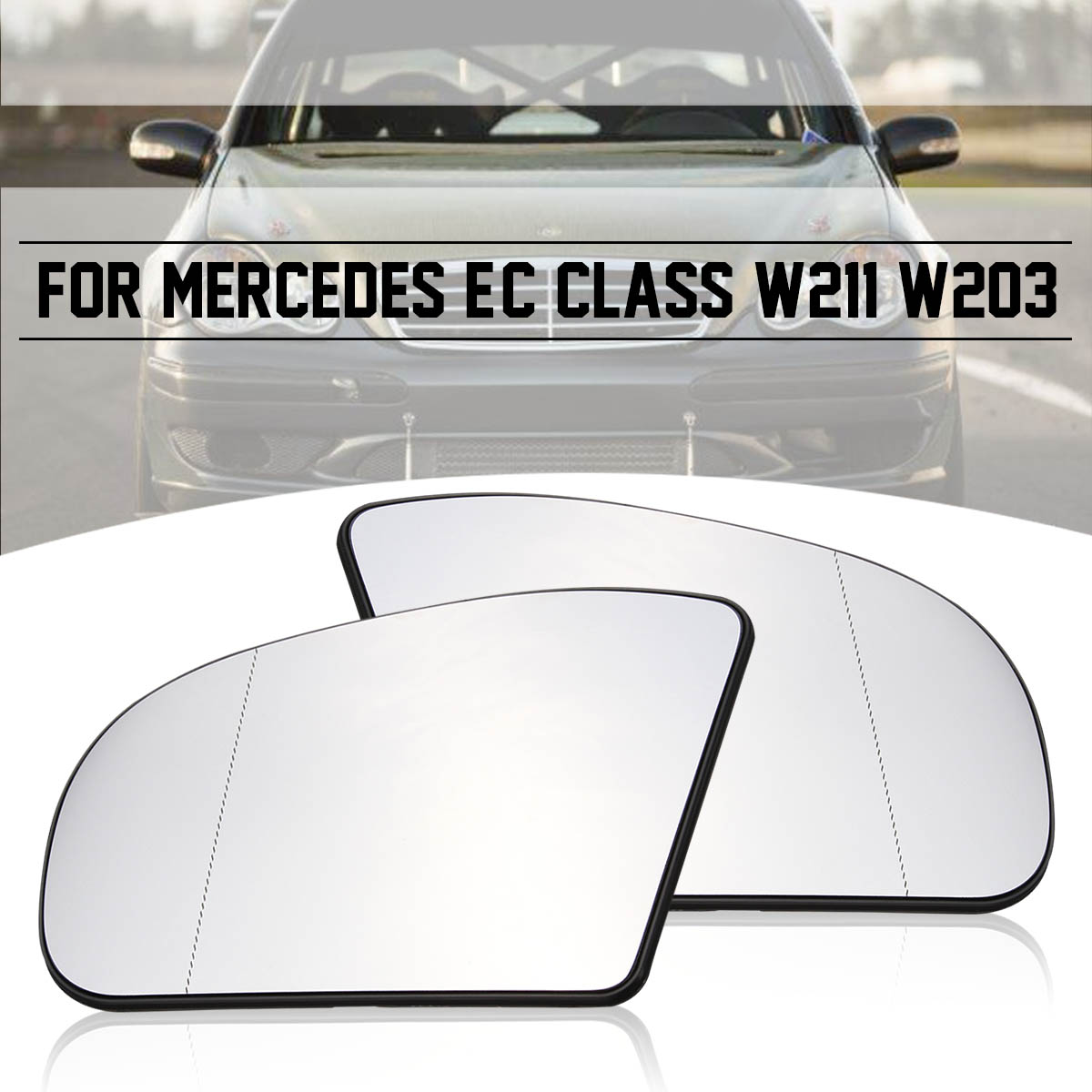 Blue Heated Left Driver Side Mirror Glass For Benz E//C-Class W211 W203 01-07