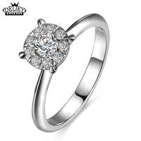 Free Shipping 100 Genuine 925 Sterling Silver Wedding Rings Fashion CZ Diamond For Women Anniversary Engagement
