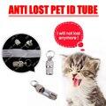 2 Pcs Mini Cão de Estimação Do Gato do Cão ID tag Anti Perdido Endereço ID Nome Da Etiqueta Tag Barrel Tubo gato Filhote de Cachorro Coleiras Coleira