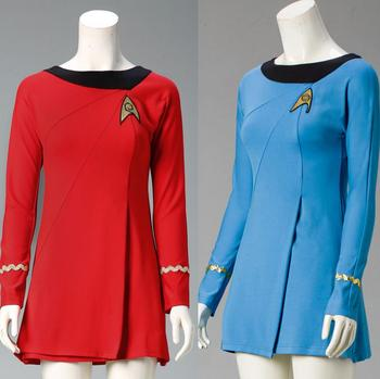 Classic Star Trek Female Duty TOS Blue Uniform Red Dress Cosplay Costume Adult
