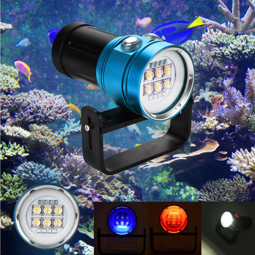2018 Flashlight 18650 Diving Flashlight Light Torch Photography 100M Underwater 4x Red+4x purple LED Super Bright JA4 white purple yellow light led flashlight stainless steel torch 18650 rechargeable uv torch olight jade identification